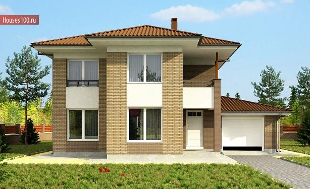 Проект двухэтажного коттеджа с балконом и гаражом в европейс.